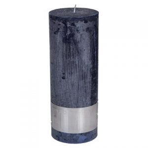 PTMD Rustic Dark Shades Pillar Candle (18x7cm) X Large Night Blue