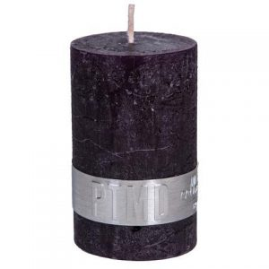 PTMD Rustic Dark Shades Pillar Candle (8x5cm) Small Purple