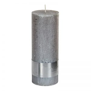 PTMD Metallic Taupe Pillar Candle 18x7cm