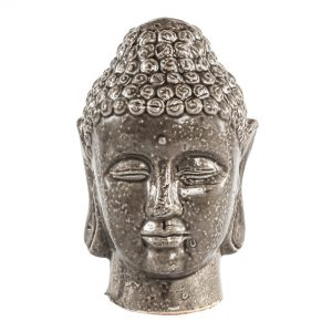 Cambodia Grey Ceramic Buddha Head Medium