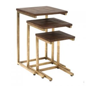 Mango Wood Set of 3 Tables with Square Metal Base