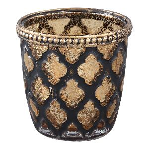Grey & Gold Antique Diamond Tea Light Holder