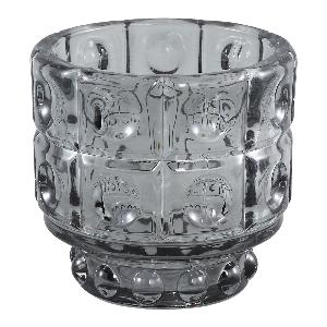 Grey Cool Glass Round Pattern Tea Light Holder