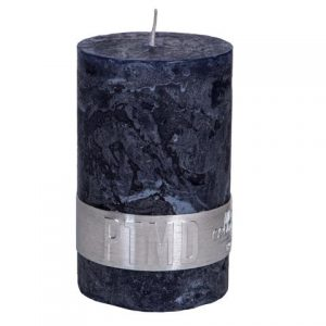 PTMD Rustic Dark Shades Pillar Candle (8x5cm) Small Night Blue