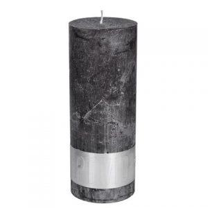 PTMD Rustic Dark Shades Pillar Candle (18x7cm) X Large Swish Grey