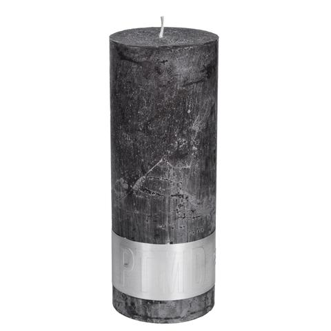 PTMD Rustic Dark Shades Pillar Candle (18x7cm) X Large Swish Grey