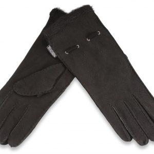 Dark Brown Ladies Sheepskin Glove with Cuff Corded Detail Medium