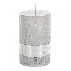 PTMD Metallic Shades Pillar Candle (8x5cm) Small Silver