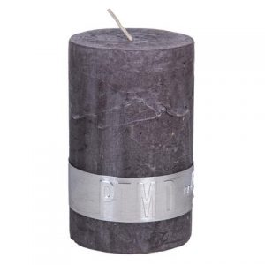 PTMD Rustic Dark Shades Pillar Candle (8x5cm) Small Swish Grey