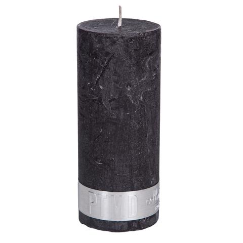 PTMD Rustic Dark Shades Pillar Candle (12x5cm) Medium Charcoal Black