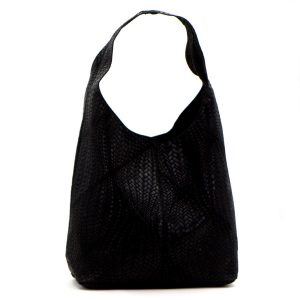 Woven Patterned Italian Leather Handbag Black