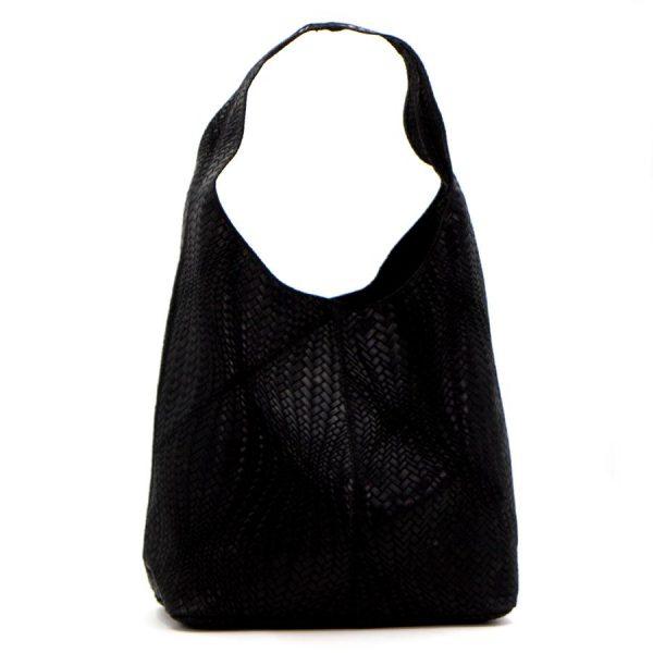 Woven Patterned Italian Leather Handbag Black