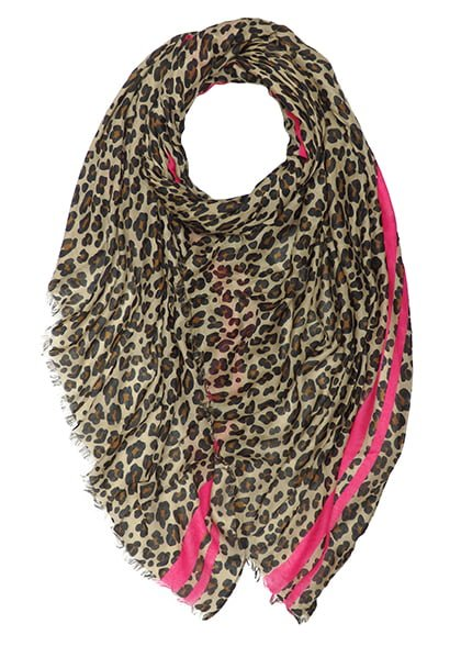 Leopard Print Scarf with Pink Stripe Trim