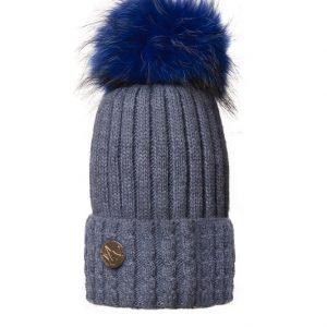Boston Cashmere Pom Pom Hat Blue