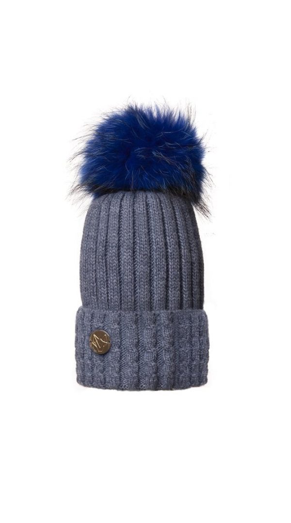 Boston Cashmere Pom Pom Hat Blue