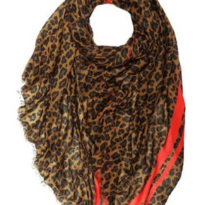 Brown Leopard Print Scarf with Red Stripe Trim
