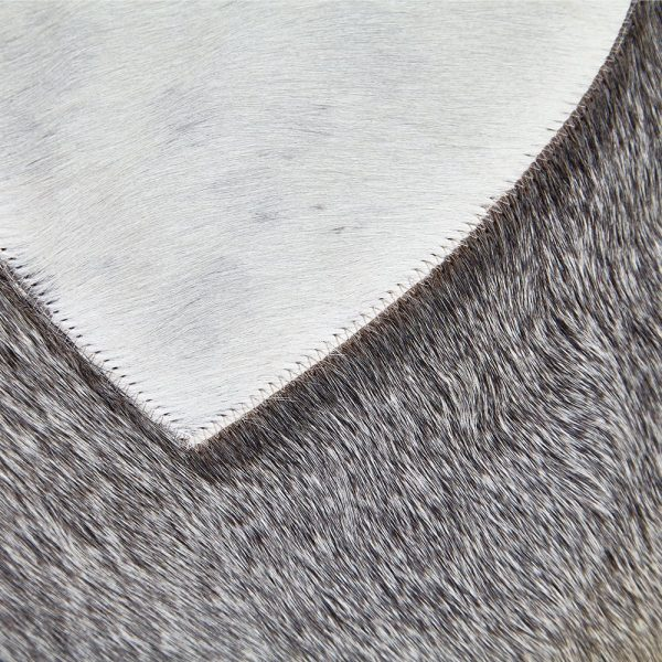 Cow Hide Heart Cushion Grey