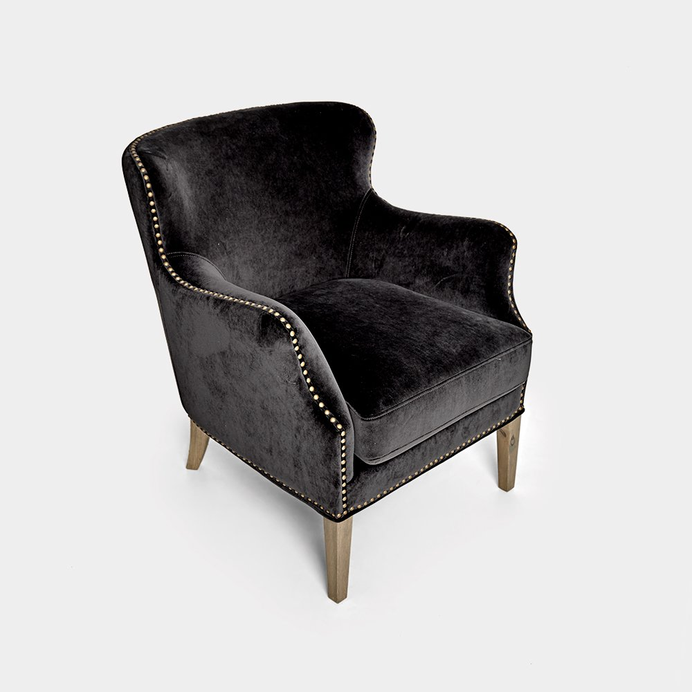 Black Club Chair With Studs
