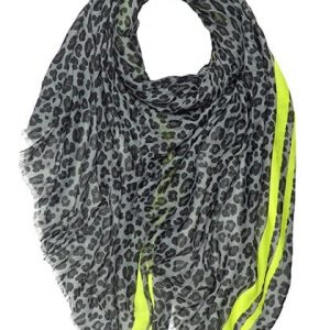 Grey Leopard Print Scarf with Lime Stripe Trim