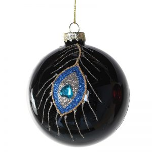 Christmas Glass Bauble with Glittering Peacock Feather