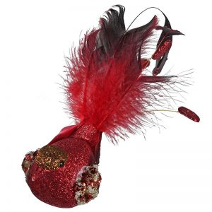 Red Feather Clip on Bird Christmas Bauble