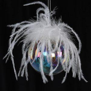 Christmas Decoration Feather Top Rainbow Ball