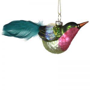 Christmas Decoration Glass Feathered Bird