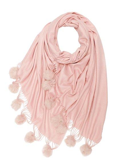 Winter Blend Cashmere Scarf With Fur Pompoms Pink