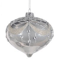 Christmas Silver Glitter Bead Top Onion Bauble