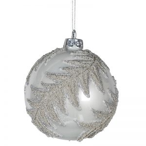 Christmas White Bauble with Fern Design