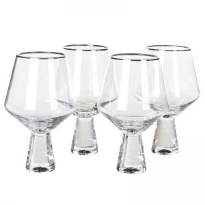 Silver Rim Tulip Wine Glass
