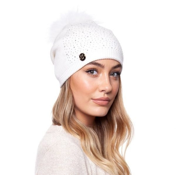 Pom Pom Embellished Hat Annabelle White