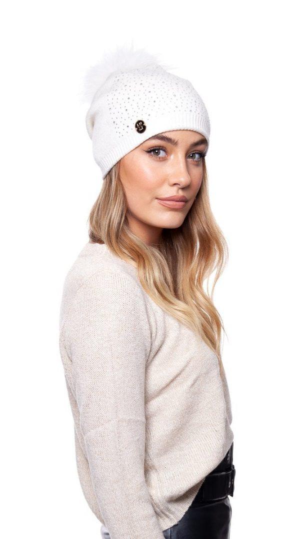 Annabelle Cashmere Pom Pom Embellished Hat White