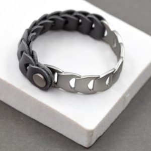 Grey Matt Metal Link Bracelet