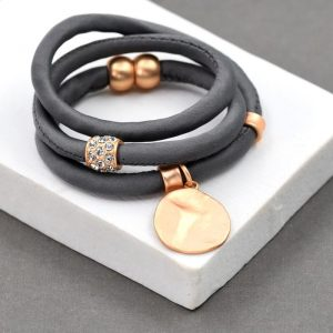 Grey Wrap Around Bracelet with Soft Hammered Copper Disc Charm