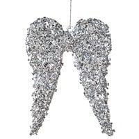Silver Glass Angel Wings Tree Hanger