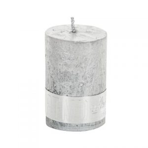 PTMD Metallic Shades Pillar Candle (6x4cm) X Small Silver