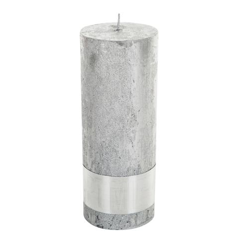 PTMD Metallic Shades Pillar Candle (18x7cm) X Large Silver