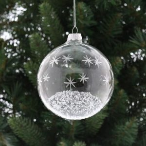Christmas Clear Glass Ball with Silver Stars