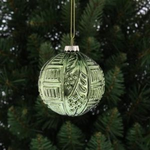 Christmas Glass Ball with Distressed Pattern