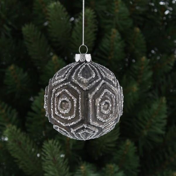 Christmas Glass Ball Gunmetal with Hexagon Shapes