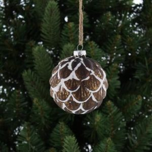 Christmas White Ball with Brown Fan Decorations