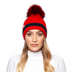 Brooklyn Stripe Pom Pom Hat Red