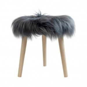 Sheepskin Round Stool Dark Grey