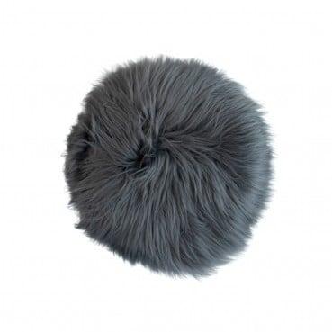 Sheepskin Round Stool Dark Grey