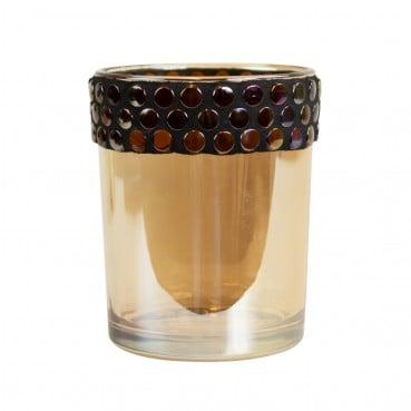Light Amber Tea Light with Metal Stud Border Large