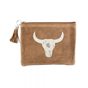 Silver Bull Head Hide Pouch