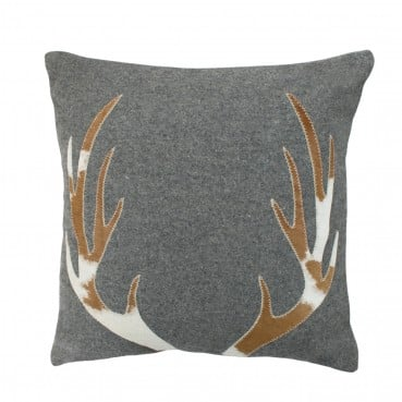 Grey Antler Wool Cushion