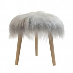 Sheepskin Round Stool Light Grey