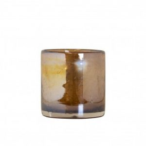 Bubbles T light Holder Amber Small